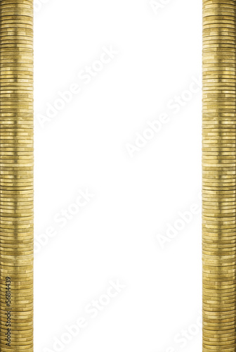 Neat Gold Coin Stacks Page Frame Side Borders