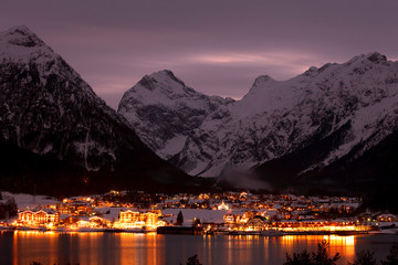 night view of mountain village