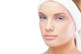 Content blonde model wearing headband