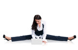 Flexible business woman with laptop