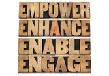 empower, enhance, enable and engage poster