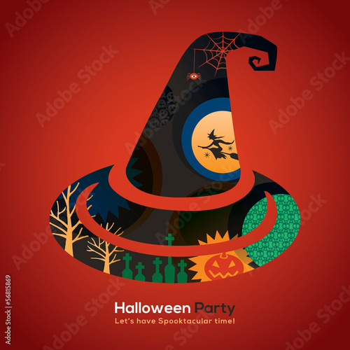Halloween Party witch hat Illustration for invitation card / pos