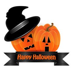 halloween background.pumpkin orange and black ribbon isolated on