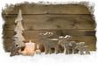 Weihnachtskarte aus Holz mit vier Kerzen