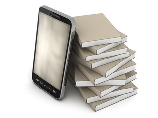 Smartphone and books on white background