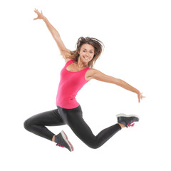 Smiling beautiful woman jumping