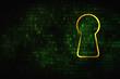 Information concept: Keyhole on digital background