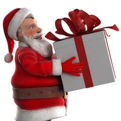 Santa Claus carrying a gift box