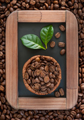 Bowl of coffee beans on the chalkboard