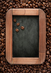 Chalk board menu with coffee beans in a vintage style