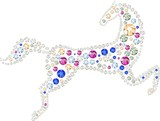 The horse made of multicolored rhinestones poster