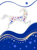 Card with horse made of multicolored rhinestones poster