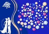 Silhouette of a bride and groom on background with rhinestones poster