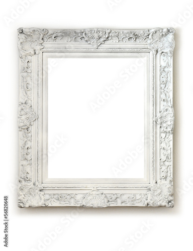 Vintage empty frame on white wall