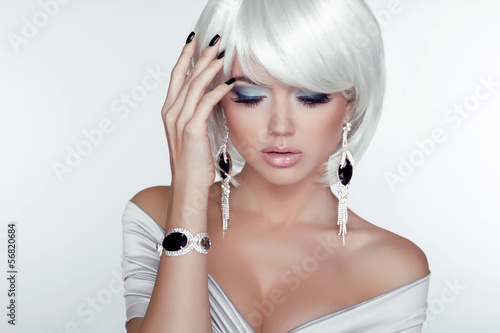 Fashion Beauty Girl. Woman Portrait with White Short Hair. Jewel