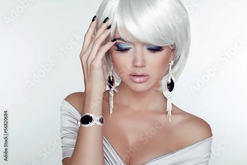 Aluminium Fashion Beauty Girl. Woman Portrait with White Short Hair. Jewel