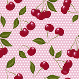 Seamless pattern with cherries on pink