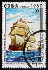 Postage stamp Cuba 1980 Santisima Trinidad, sailboat