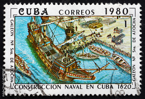 Postage stamp Cuba 1980 Our Lady of Atocha, Galleon