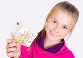 Mädchen mit 50 Euro