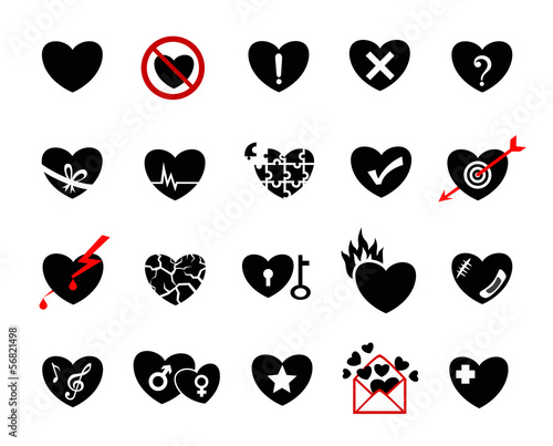 heart of love concept  icon set