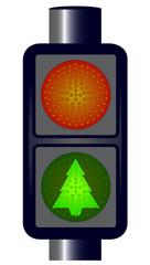 Green Christmas Traffic Lights