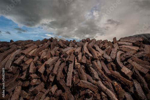 pile of bog peat drying
