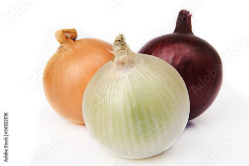 Three different types onions