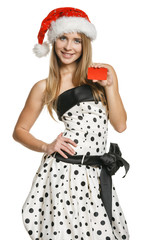 Santa girl showing blank credit / business card
