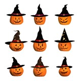 nine halloween pumpkins with witch hat