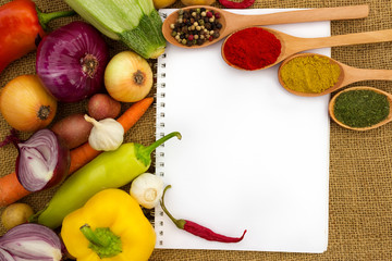 vegetables and paper for notes