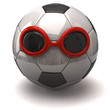 Fun soccer ball and red sunglasses