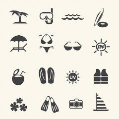 Vacation and tourism icons. Vector