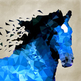 Abstract horse of geometric shape, symbol