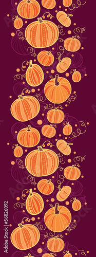 vector Thanksgiving pumpkins vertical border seamless pattern