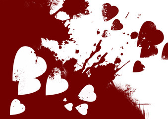Bloody hearts abstract background
