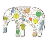 Vector hand drawn elephant with floral pattern.