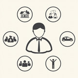 Vision. Businessman dream. Life of businessman. Vector