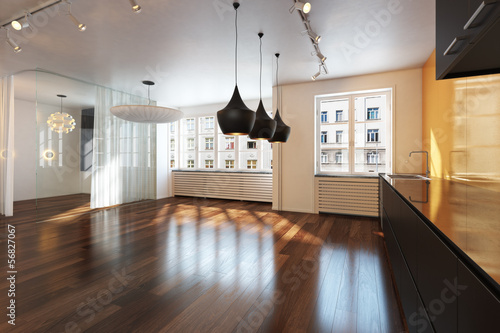 Empty interior residence with hardwood floors in the city - 56827067