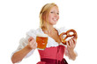 Woman with beer and pretzel
