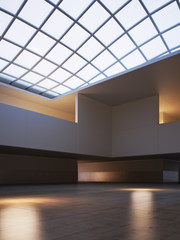Large Modern interior with a skylight roof