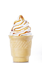 white ice-cream cone with caramel