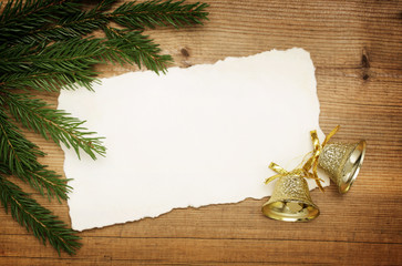 Christmas background: Blank Old Paper Sheet with decorations