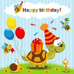 birthday turtle - vector  illustration