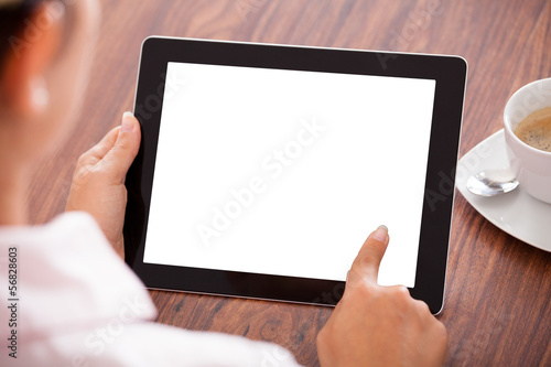 Woman With Digital Tablet And Cup