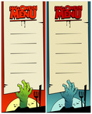 Halloween menu cards set with zombie hands.