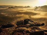 Golden sunrise in a beautiful mountain of Saxony Switzerland.