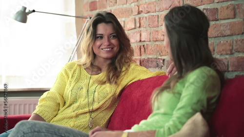 Two young girlfriends talking on sofa in home