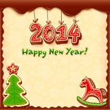 New year vector gingerbread style greeting card