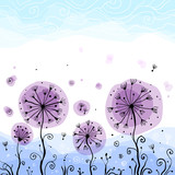 Ornate vector violet dandelions illustration